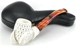 Hand Carved Lattice Bowl Claw Meerschaum Pipe
