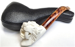 Hand Carved Saber Tooth Tiger Meerschaum Pipe