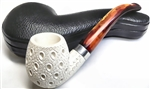 Hand Carved Teardrop Lattice with Silver Trim Ring Meerschaum Pipe