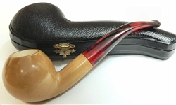 Deluxe Hand Carved Colored Ball/Tomato Shape Meerschaum Pipe