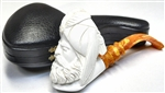 Hand Carved Full Bent Sultan with Carved Stem Meerschaum Pipe