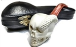 Hand Carved Skull with Snake Meerschaum Pipe