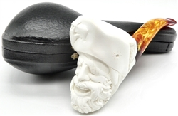 Hand Carved Pirate with Eagle Cap and Feather Meerschaum Pipe