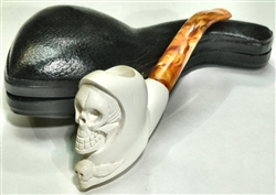 Hand Carved Grim Reaper with Skull Meerschaum Pipe