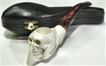 Hand Carved Skull in Claw Meerschaum Pipe