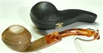 Deluxe Hand Carved Colored Bulldog Diamond Shank Meerschaum Pipe