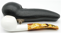 Hand Carved Smooth Squat Oval Shank Meerschaum Pipe