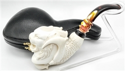 Deluxe Hand Carved Tiger in Claw Meerschaum Pipe