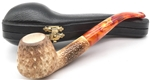 Hand Carved Colored Teardrop Lattice Meerschaum Pipe