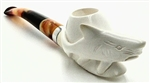 Hand Carved Shark with Silver Trim Ring and Carved Bottom Meerschaum Pipe