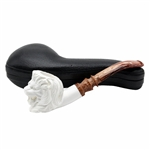 Lion Designer Stem Block Meerschaum Pipe