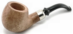 Small Apple Silver Ring Bent Stem Italian Briar Pipe
