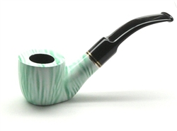 Green-White Baked Sitting Briar Pipe With Double Brass Rings