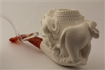 Deluxe Hand Carved Elephant and Lion Meerschaum Pipe