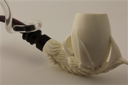 Special Hand Carved Deluxe Eagle's Claw Meerschaum Pipe