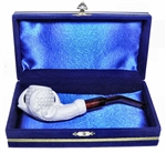 Mini Deluxe Hand Carved Claw Lattice Meerschaum Pipes with Velvet Chest