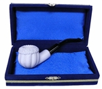 Mini Deluxe Hand Carved Panel Apple Meerschaum Pipes with Velvet Chest