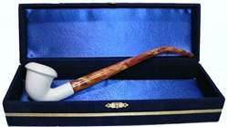 Standard Calabash Smooth Churchwarden Meerschaum Pipes with Velvet Chest