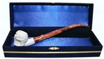 Standard Skull Churchwarden Meerschaum Pipes with Velvet Chest