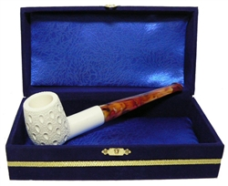 Standard Billiard Lattice Straight Meerschaum Pipes with Velvet Chest