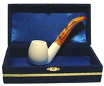 Standard Sitting Smooth Meerschaum Pipes with Velvet Chest