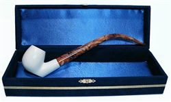 Standard Sitting Smooth Churchwarden Meerschaum Pipes with Velvet Chest