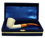 Standard Dublin Lattice Meerschaum Pipes with Velvet Chest