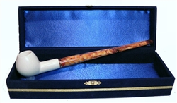 Standard Apple Smooth Churchwarden Meerschaum Pipes with Velvet Chest