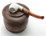 Wood Tobacco Jar with Pipe Rest