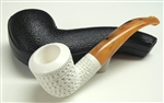 Hand Carved Lattice Meerschaum Pipe