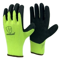 1 dozen (12 pairs) HI-Visible Green LATEX PALM COATED cotton flexible glove