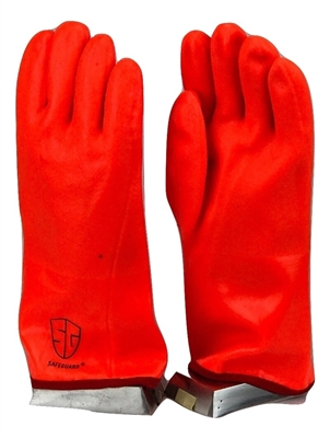 "1 dozen (12 pairs) Safety Orange 16"" Long PVC Gloves waterproof"