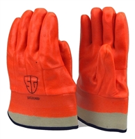 1 dozen (12 pairs) Safety Orange PVC Coated Gloves waterproof