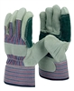 1 dozen (12 pairs) Cowhide Green leather double palm work glove