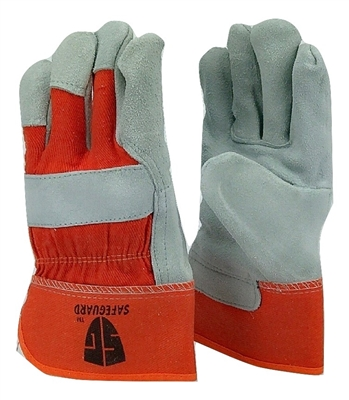 1 dozen (12 pairs) Cowhide Orange leather palm work glove