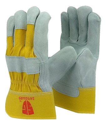 1 dozen (12 pairs) Cowhide Yellow leather palm work glove