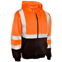 High visible orange class 3 full zipper hoodie