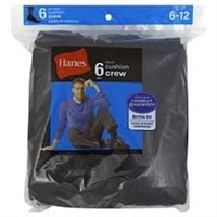 Hanes Men's Crew Cushion Socks, 6-12, Black, 6 pairs