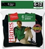 Hanes Men's Ankle Cushion Socks, 6-12, Black, 6 pairs