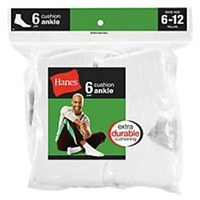 Hanes Men's Ankle Cushion Socks, 6-12, White, 6 pairs