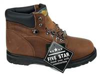 "Five Star 6"" brown leather heavy duty work boots"