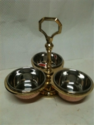 Copper and Steel Pickle Stand - 3 Bowls