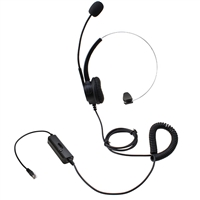 Call Center Noise Cancelling Corded Single Ear Headset for Desk Telephone with 4-Pin RJ9