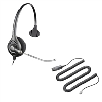 Plantronics HW251 SupraPlus Headset w/ Voice Tube - HIS Adapter Cable Bundle