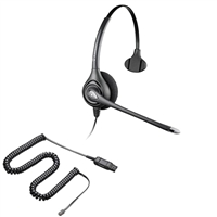 Plantronics HW251N SupraPlus Headset w/ Noise Canceling Mic - HIC Adapter Cable Bundle