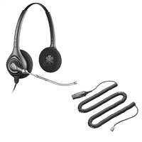 Plantronics HW261 SupraPlus Headset w/ Voice Tube - HIS Adapter Cable Bundle