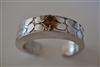 Handcrafted hollow form overlay cuff sterling silver topaz