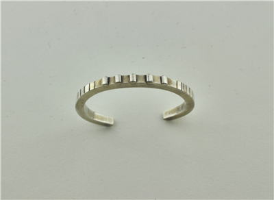 Square silver cuff narrow handcrafted