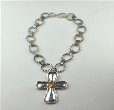 Handcrafted silver chain and cross set with topaz