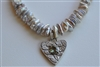 Pastel keshi pearl necklace silver hollow for heart handcrafted green quartz